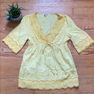 Yellow boho hippie top